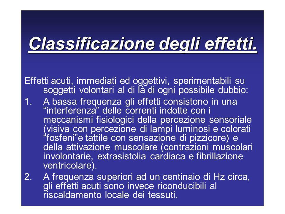 Classificazione degli effetti.