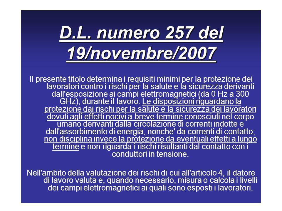 D.L. numero 257 del 19/novembre/2007