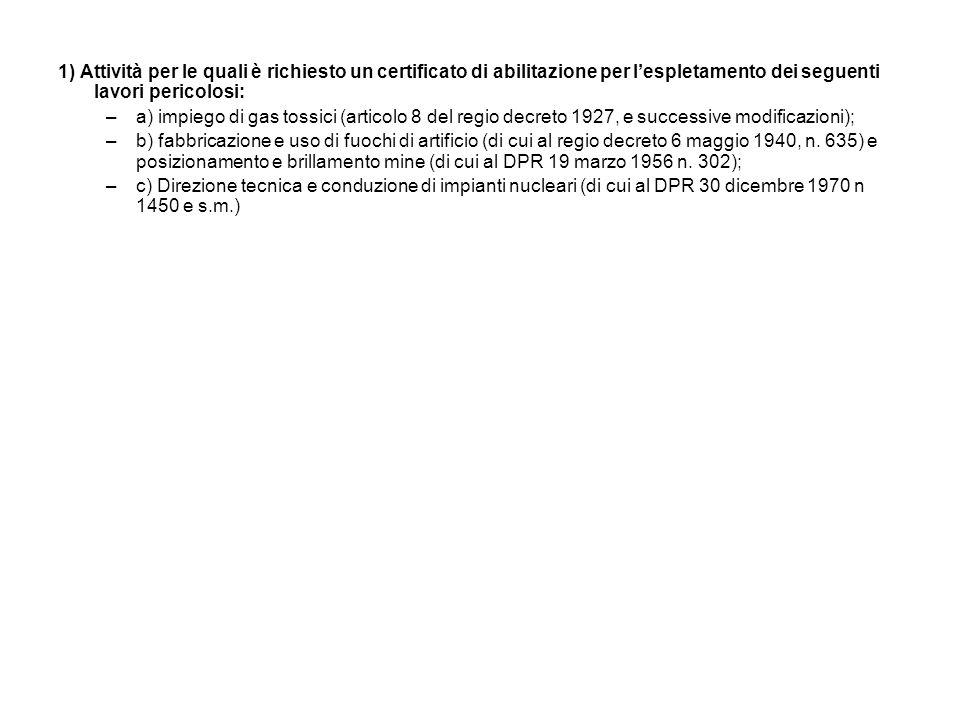 1) Attività per le quali è richiesto un certificato di abilitazione per l'espletamento dei seguenti lavori pericolosi: