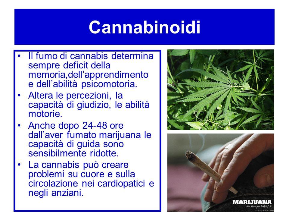 Cannabinoidi Il fumo di cannabis determina sempre deficit della memoria,dell'apprendimento e dell'abilità psicomotoria.