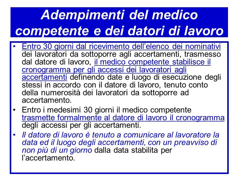 Adempimenti del medico competente e dei datori di lavoro