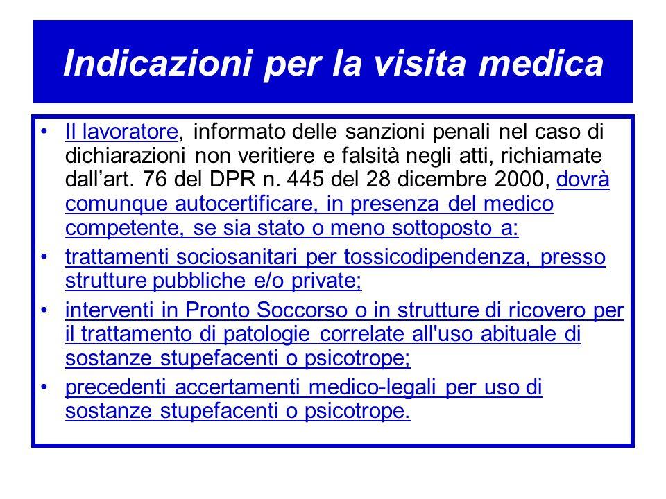 Indicazioni per la visita medica