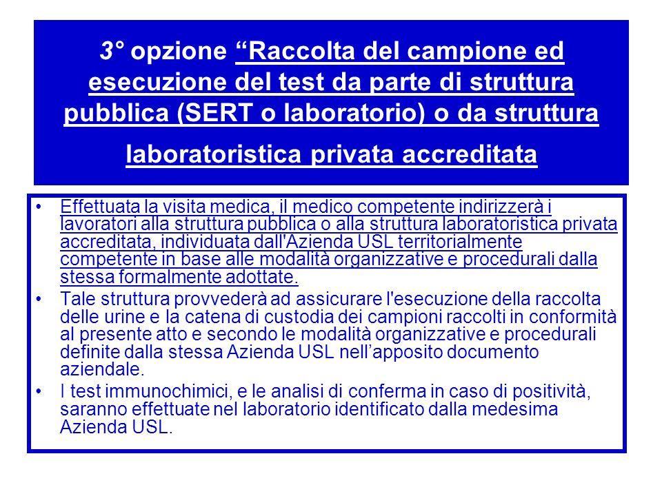 3° opzione Raccolta del campione ed esecuzione del test da parte di struttura pubblica (SERT o laboratorio) o da struttura laboratoristica privata accreditata