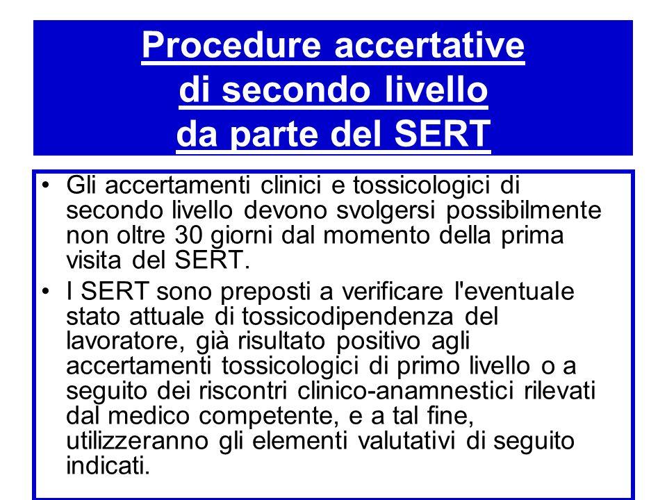 Procedure accertative di secondo livello da parte del SERT