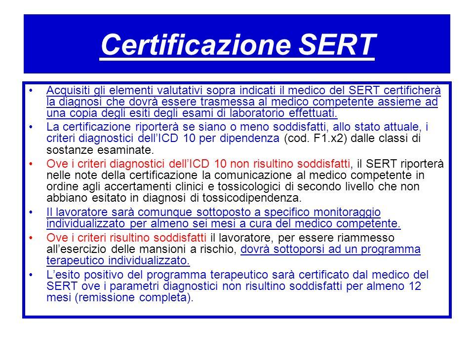 Certificazione SERT