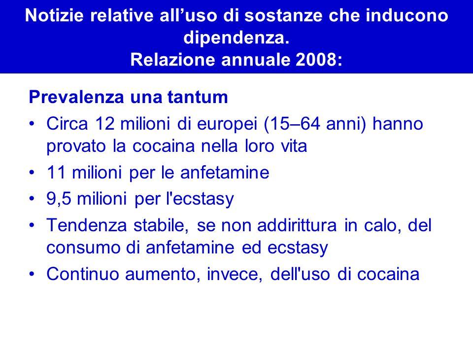 Notizie relative all'uso di sostanze che inducono dipendenza