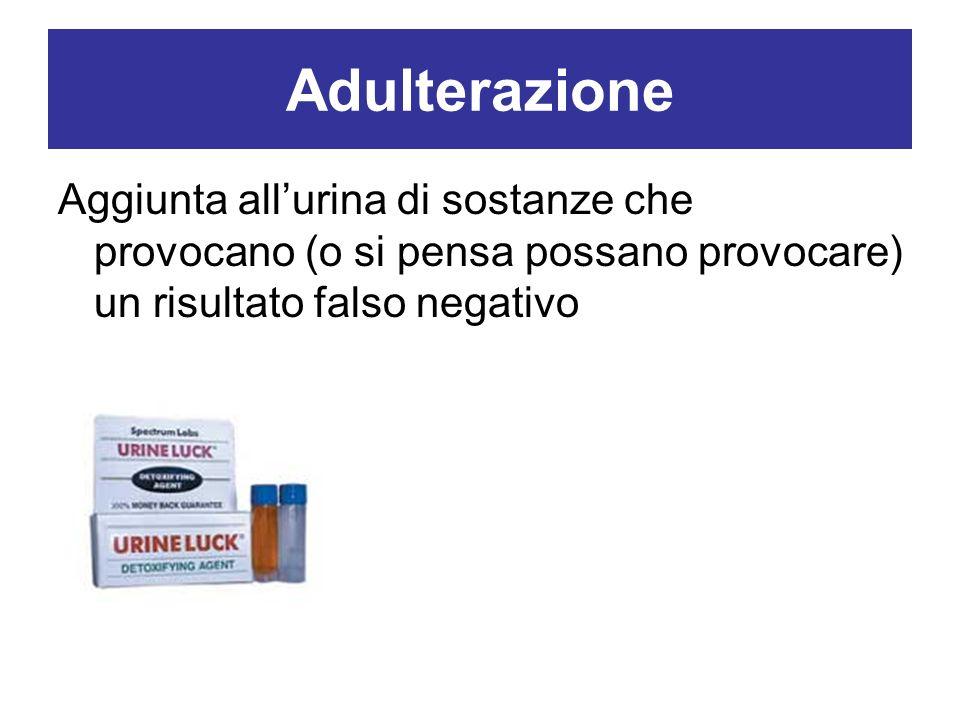 Adulterazione Aggiunta all'urina di sostanze che provocano (o si pensa possano provocare) un risultato falso negativo.