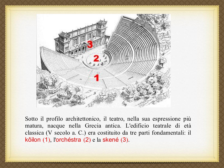 Sotto il profilo architettonico, il teatro, nella sua espressione più matura, nacque nella Grecia antica.