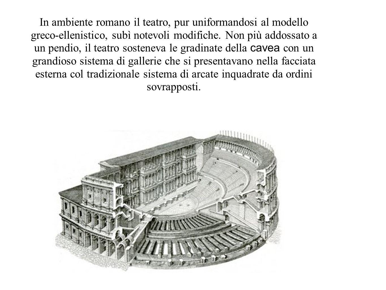 In ambiente romano il teatro, pur uniformandosi al modello greco-ellenistico, subì notevoli modifiche.