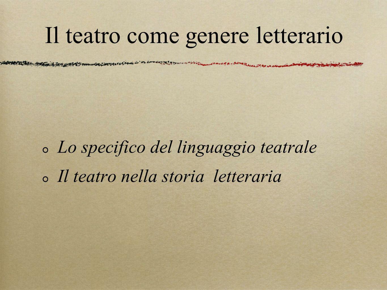 Il teatro come genere letterario