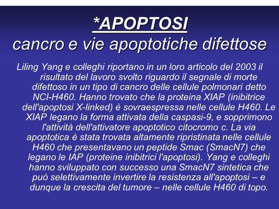 *APOPTOSI cancro e vie apoptotiche difettose