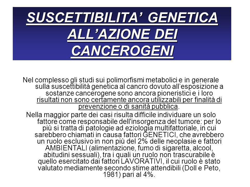 SUSCETTIBILITA' GENETICA ALL'AZIONE DEI CANCEROGENI