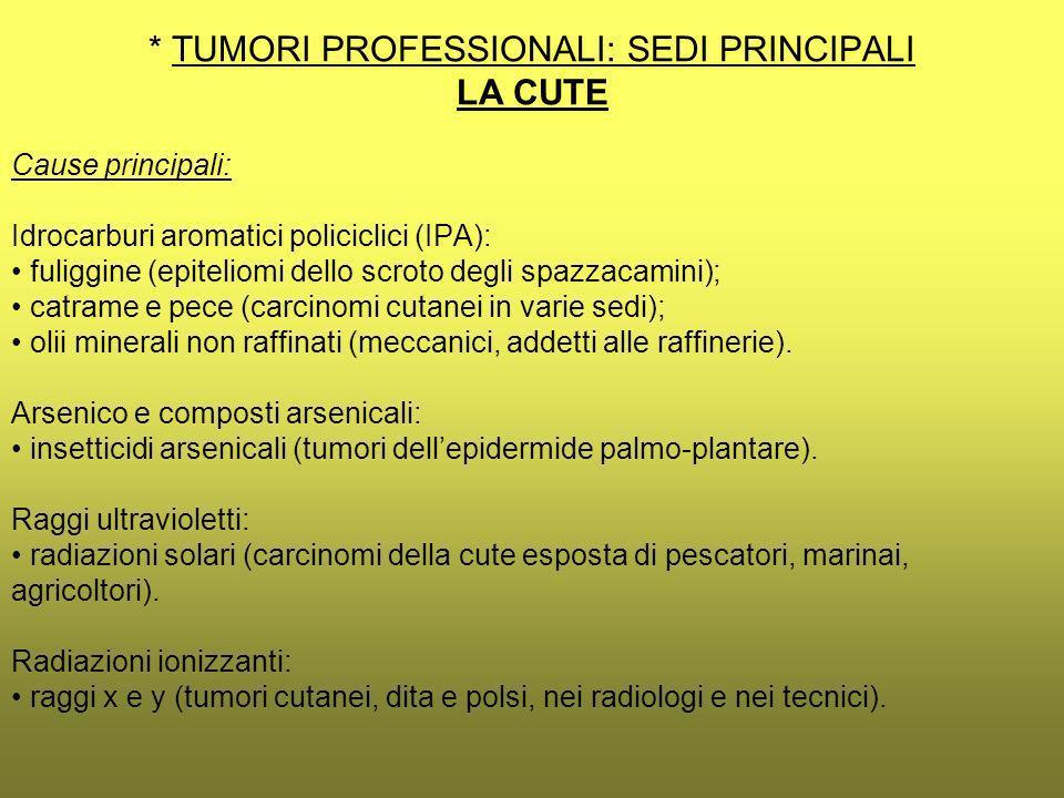 * TUMORI PROFESSIONALI: SEDI PRINCIPALI LA CUTE