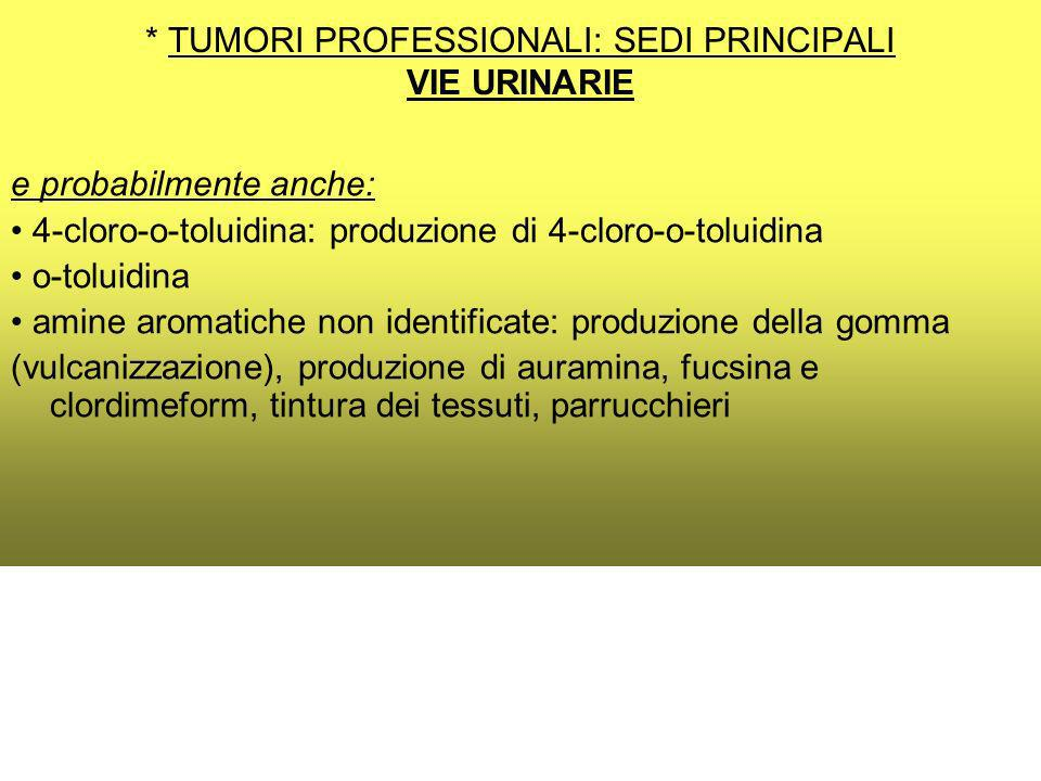 * TUMORI PROFESSIONALI: SEDI PRINCIPALI VIE URINARIE