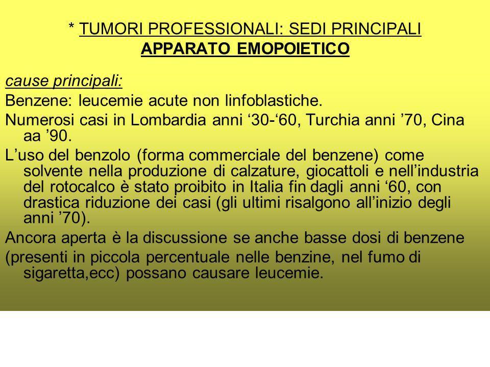 * TUMORI PROFESSIONALI: SEDI PRINCIPALI APPARATO EMOPOIETICO