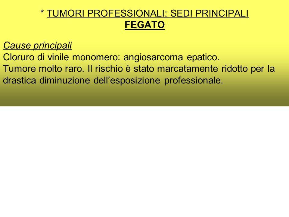 * TUMORI PROFESSIONALI: SEDI PRINCIPALI FEGATO