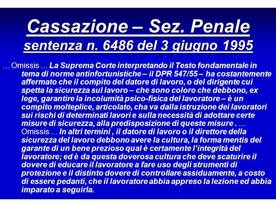 Cassazione – Sez. Penale sentenza n. 6486 del 3 giugno 1995