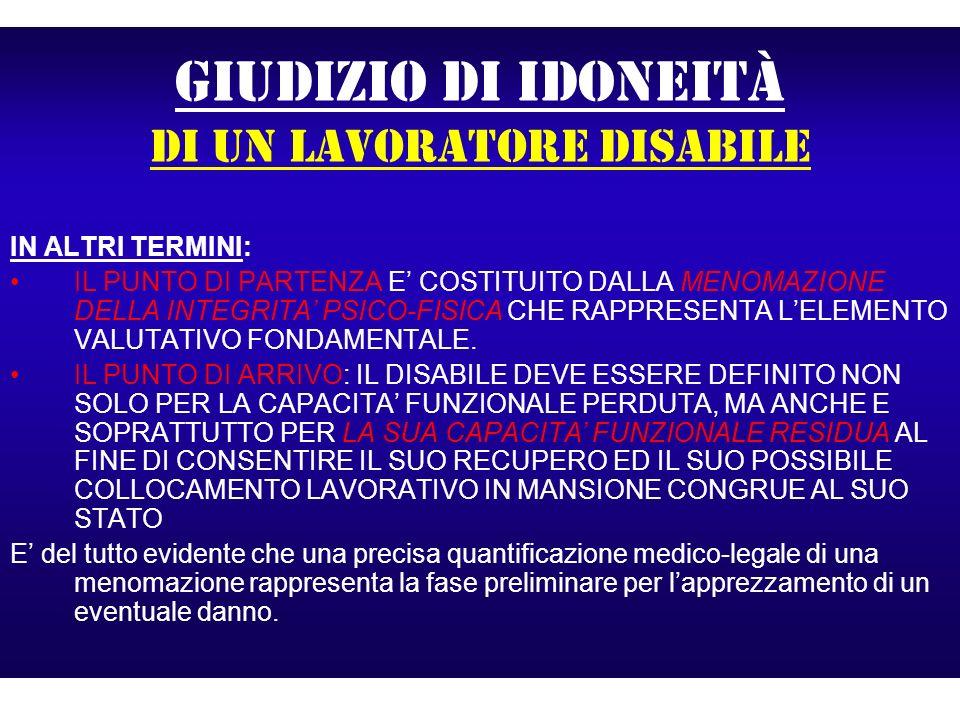GIUDIZIO DI IDONEITà di un lavoratore disabile