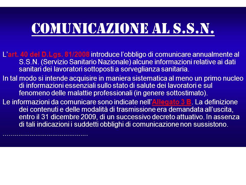 Comunicazione al s.s.n.