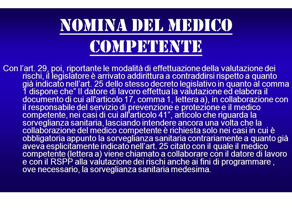 Nomina del medico competente