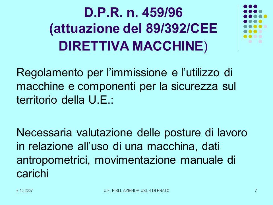 D.P.R. n. 459/96 (attuazione del 89/392/CEE DIRETTIVA MACCHINE)