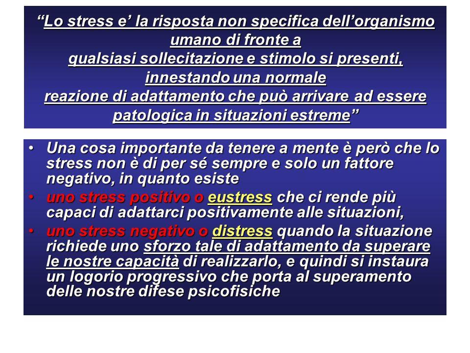 Lo stress e' la risposta non specifica dell'organismo umano di fronte a qualsiasi sollecitazione e stimolo si presenti, innestando una normale reazione di adattamento che può arrivare ad essere patologica in situazioni estreme