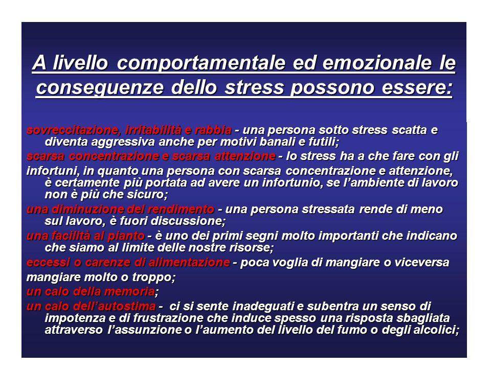 A livello comportamentale ed emozionale le conseguenze dello stress possono essere: