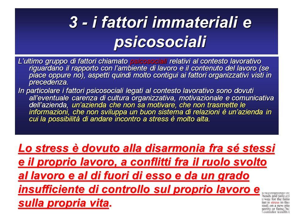 3 - i fattori immateriali e psicosociali