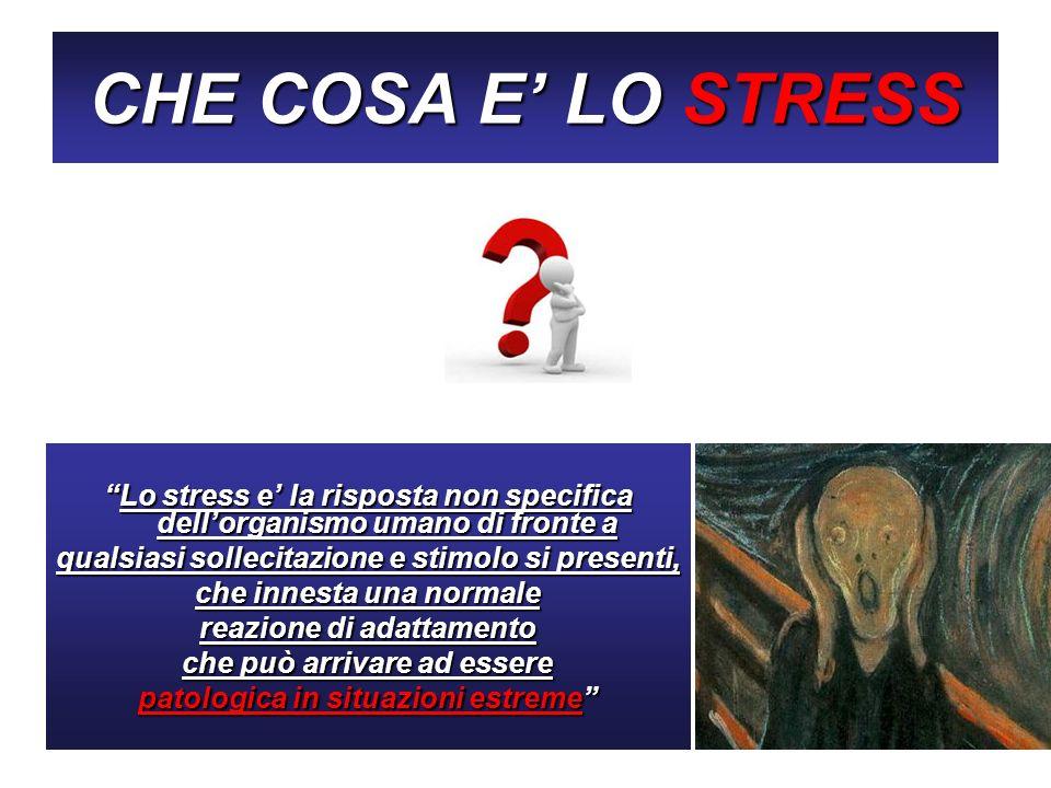 CHE COSA E' LO STRESS Lo stress e' la risposta non specifica dell'organismo umano di fronte a. qualsiasi sollecitazione e stimolo si presenti,