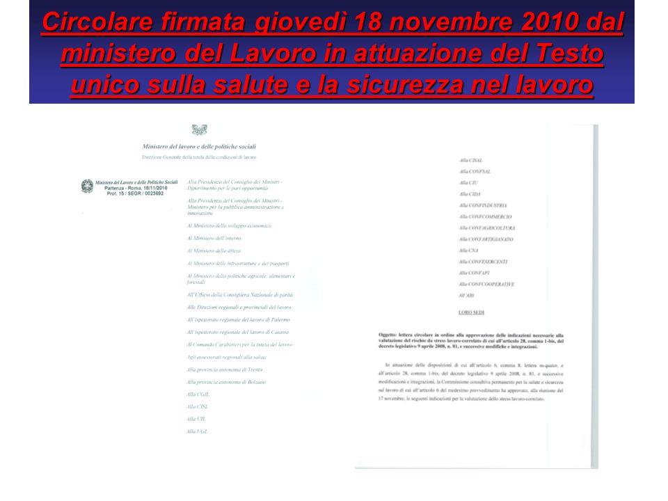 Circolare firmata giovedì 18 novembre 2010 dal ministero del Lavoro in attuazione del Testo unico sulla salute e la sicurezza nel lavoro