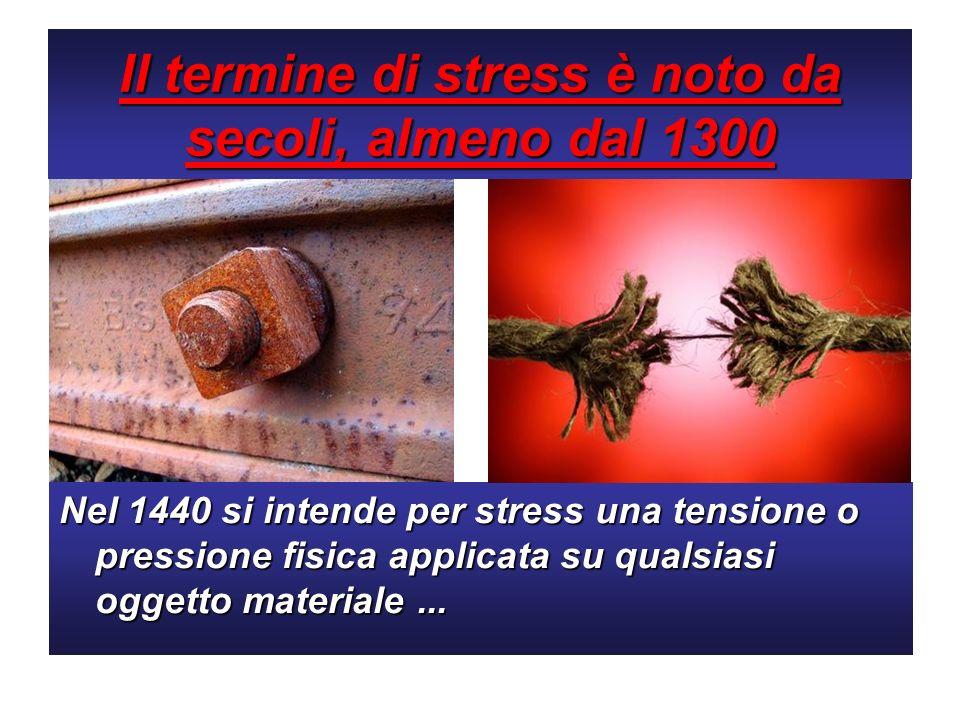 Il termine di stress è noto da secoli, almeno dal 1300