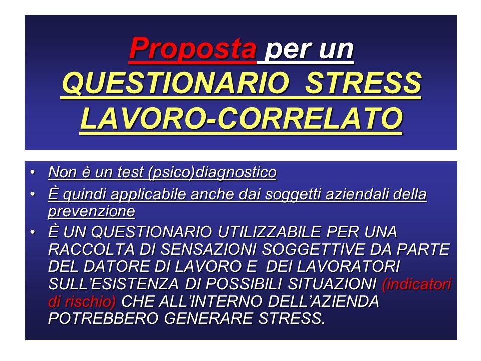 Proposta per un QUESTIONARIO STRESS LAVORO-CORRELATO