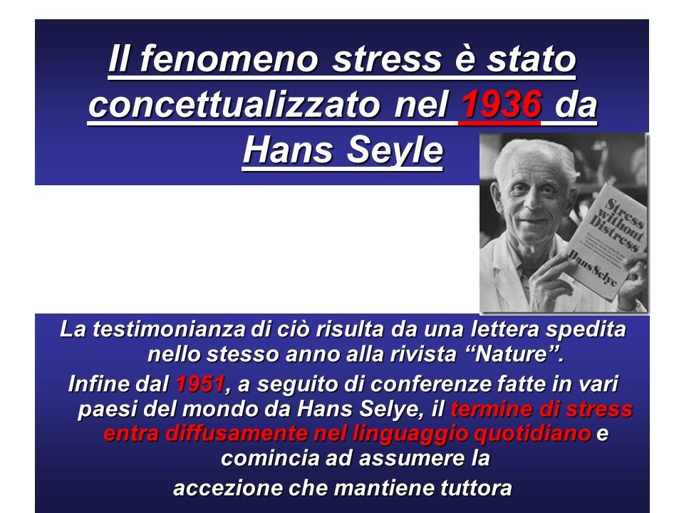 Il fenomeno stress è stato concettualizzato nel 1936 da Hans Seyle