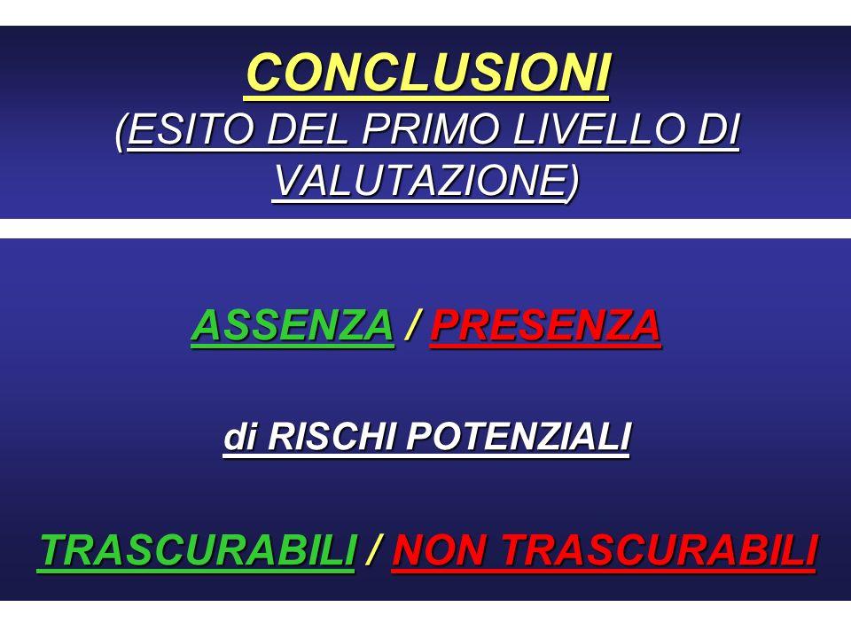 CONCLUSIONI (ESITO DEL PRIMO LIVELLO DI VALUTAZIONE)