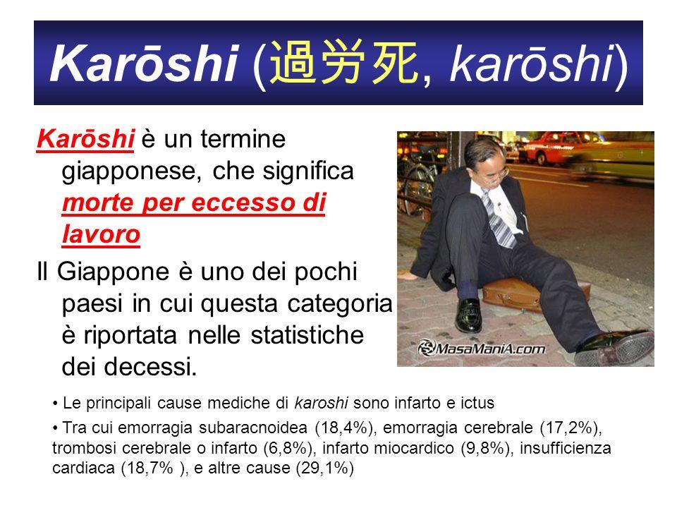 Karōshi (過労死, karōshi) Karōshi è un termine giapponese, che significa morte per eccesso di lavoro.