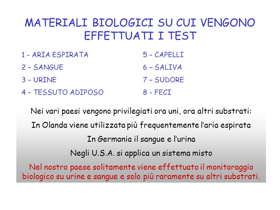 MATERIALI BIOLOGICI SU CUI VENGONO EFFETTUATI I TEST
