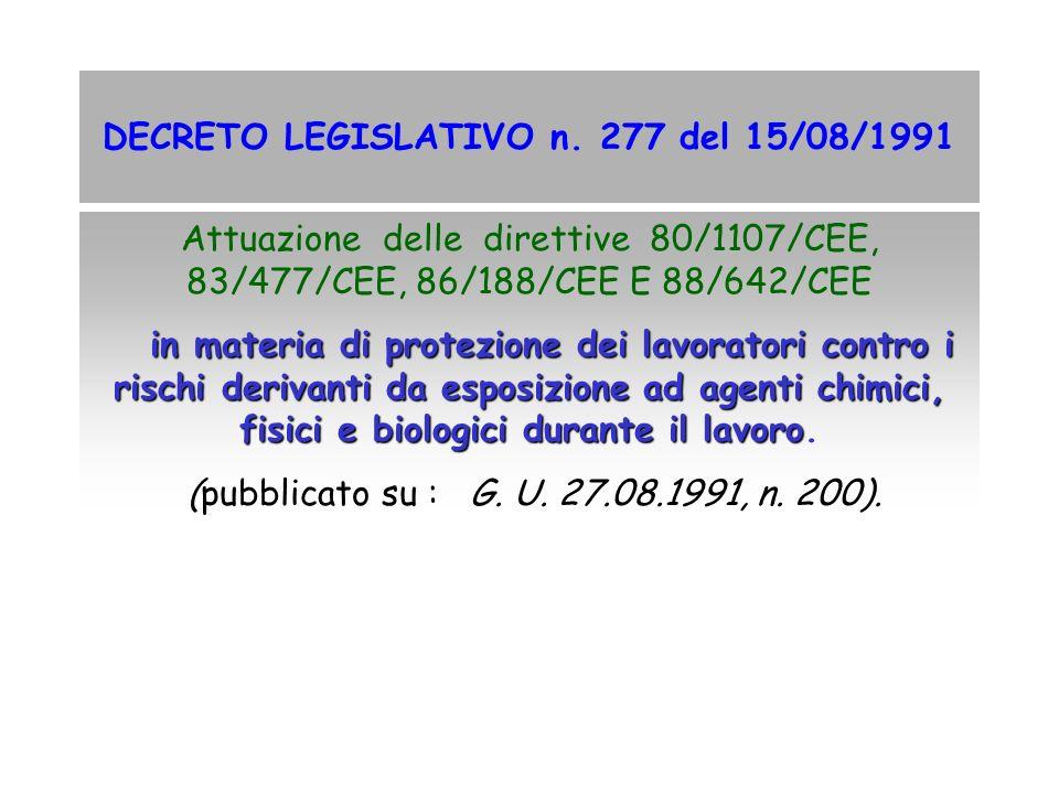 DECRETO LEGISLATIVO n. 277 del 15/08/1991