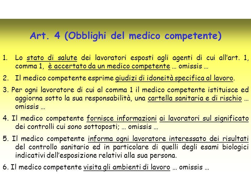 Art. 4 (Obblighi del medico competente)