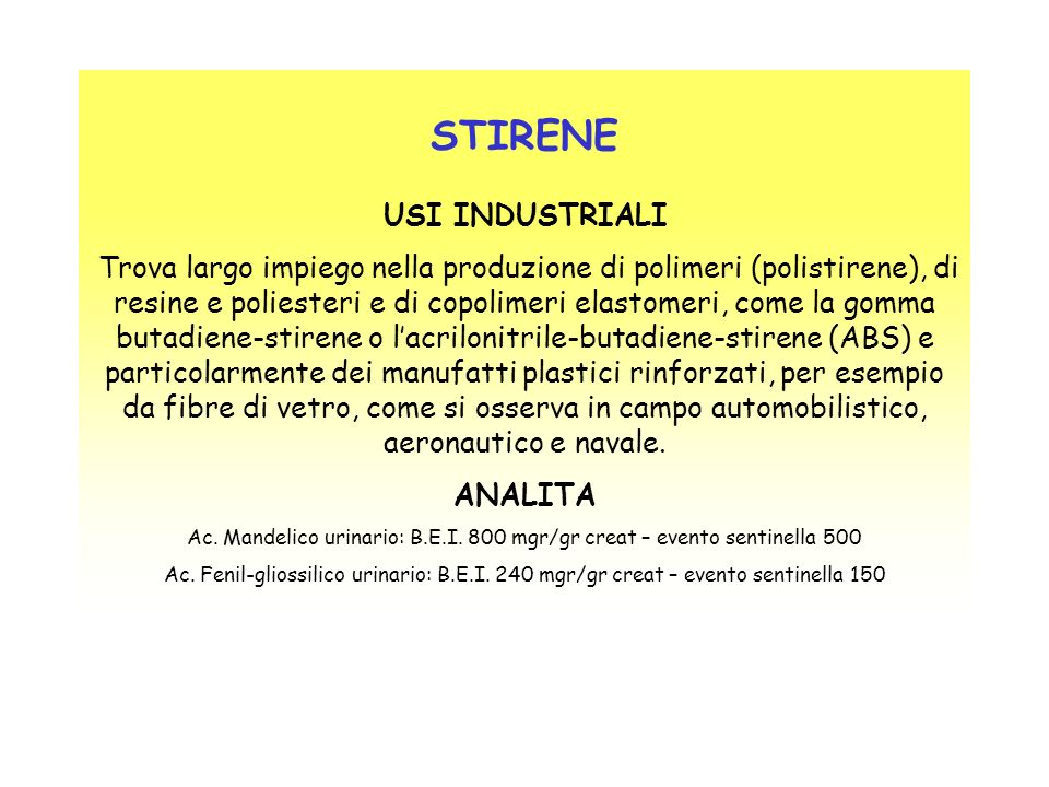 STIRENE USI INDUSTRIALI