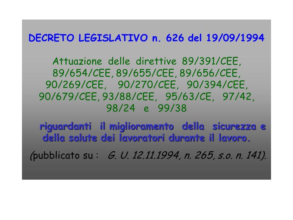 DECRETO LEGISLATIVO n. 626 del 19/09/1994