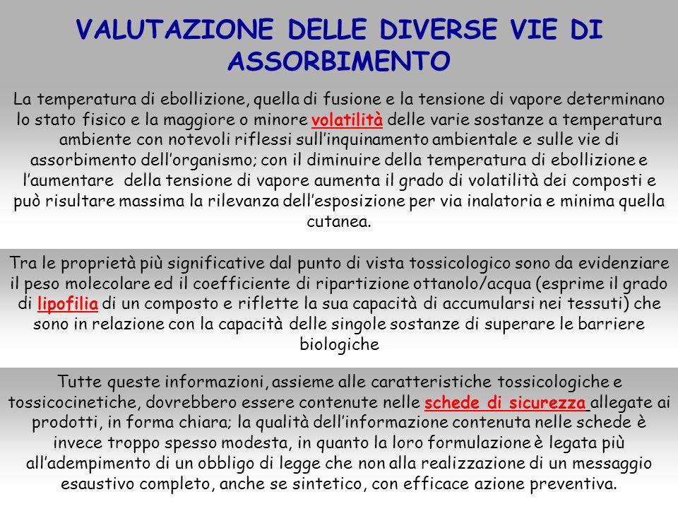 VALUTAZIONE DELLE DIVERSE VIE DI ASSORBIMENTO