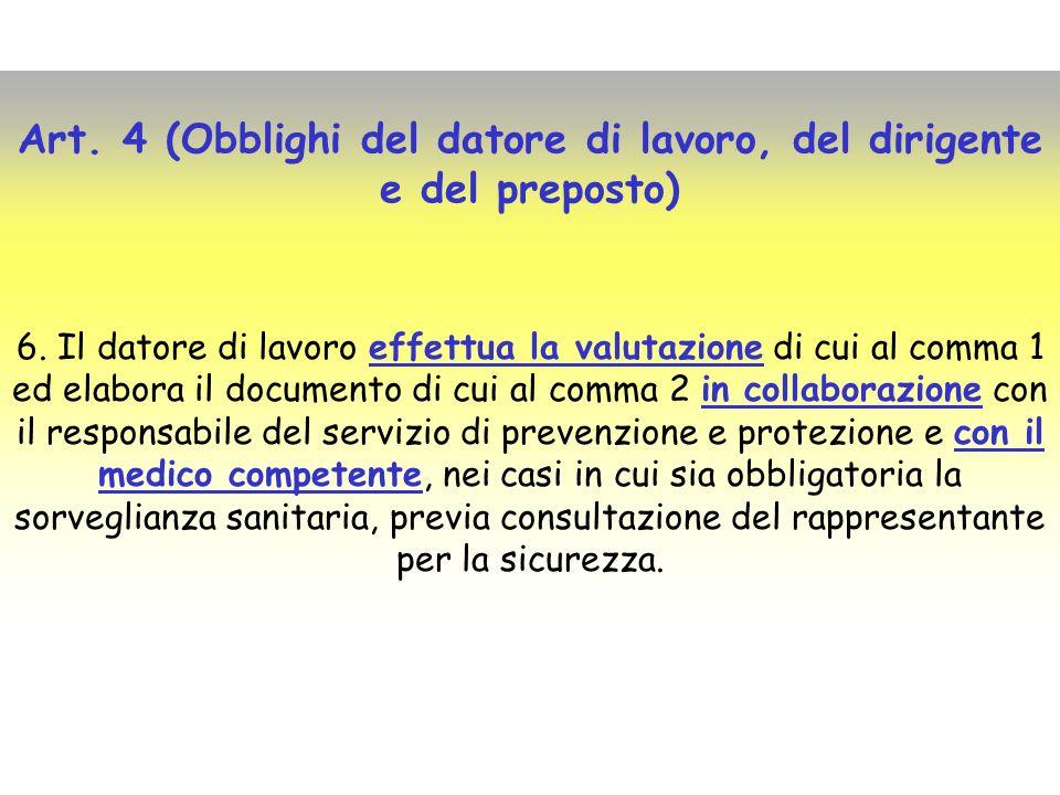 Art. 4 (Obblighi del datore di lavoro, del dirigente e del preposto)