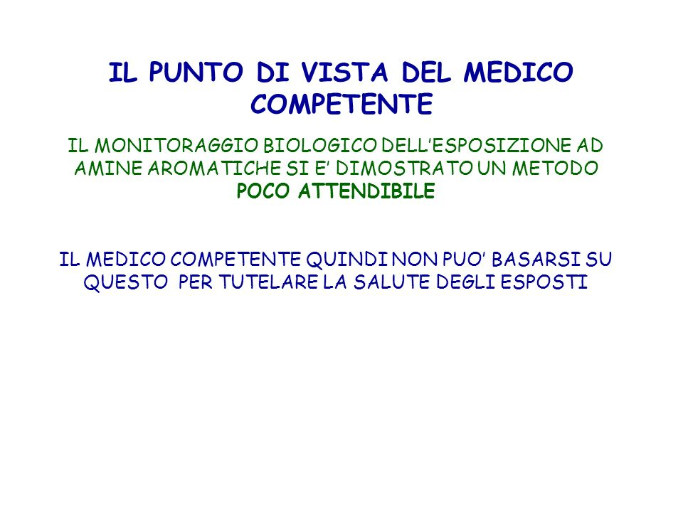 IL PUNTO DI VISTA DEL MEDICO COMPETENTE