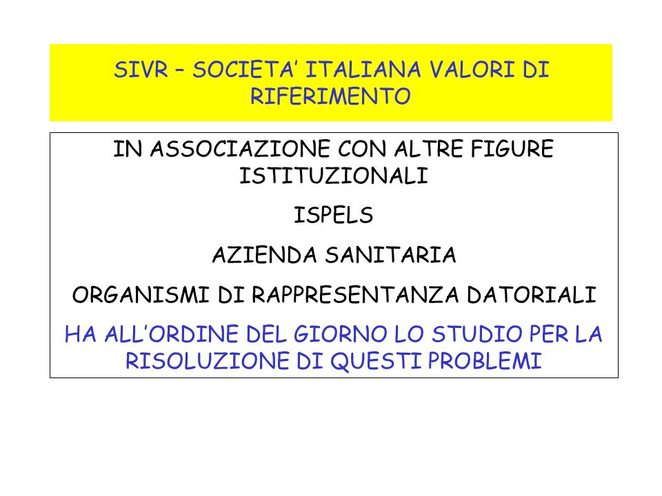 SIVR – SOCIETA' ITALIANA VALORI DI RIFERIMENTO