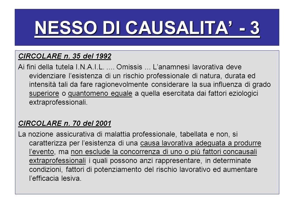 NESSO DI CAUSALITA' - 3 CIRCOLARE n. 35 del 1992