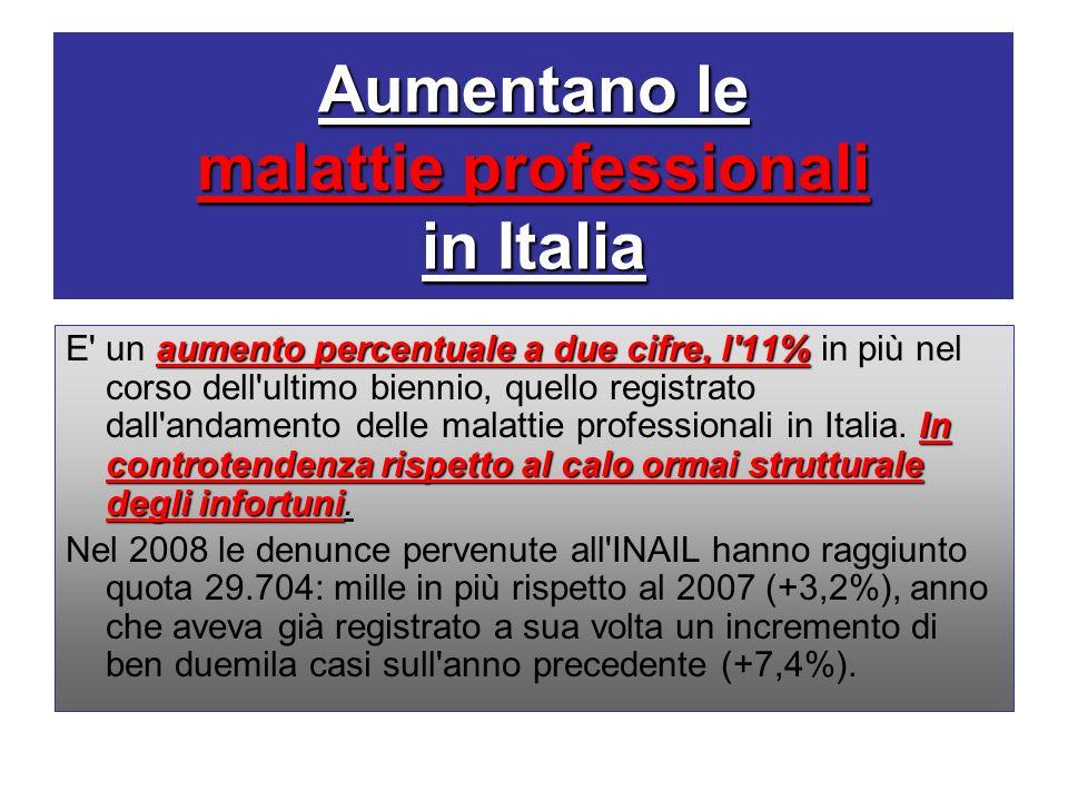 Aumentano le malattie professionali in Italia