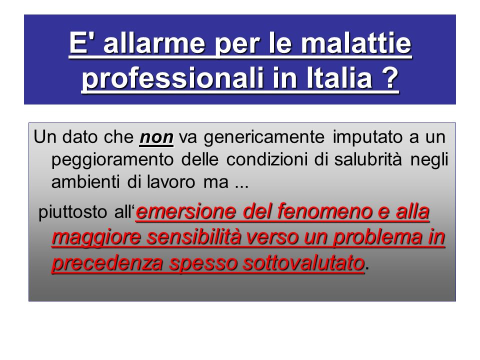 E allarme per le malattie professionali in Italia
