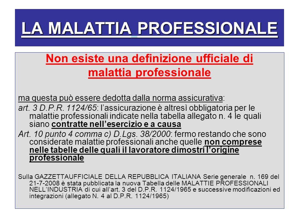 LA MALATTIA PROFESSIONALE