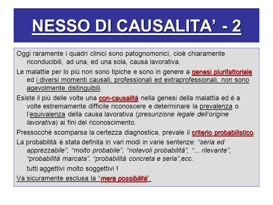 NESSO DI CAUSALITA' - 2 Oggi raramente i quadri clinici sono patognomonici, cioè chiaramente riconducibili, ad una, ed una sola, causa lavorativa.