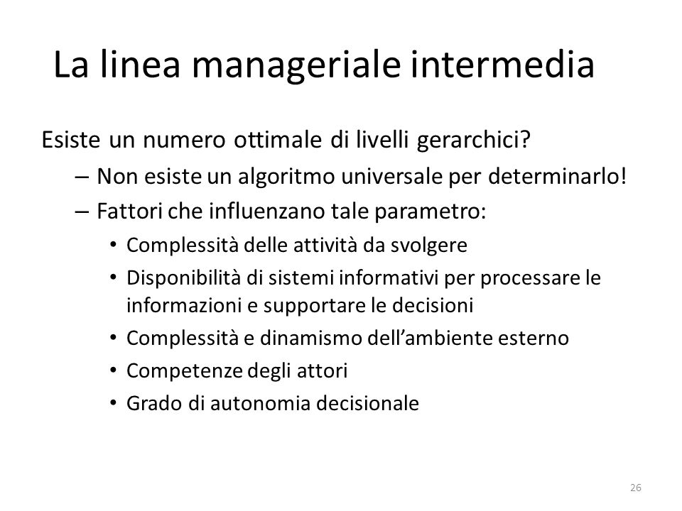 La linea manageriale intermedia